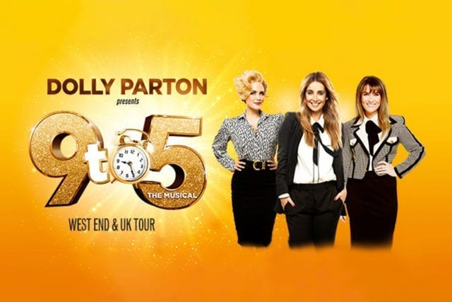 9 To 5 The Musical banner image featuring 2021 cast, Louise Redknapp