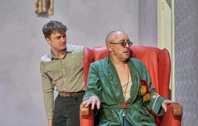 Alan Cumming Hamm and Daniel Radcliffe, Endgame at The Old Vic. Photo by Manuel Harlan.