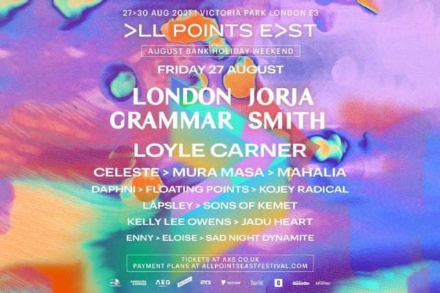 All Points East festival lineup poster featuring London Grammar, Jorja Smith, Loyle Carner and more.