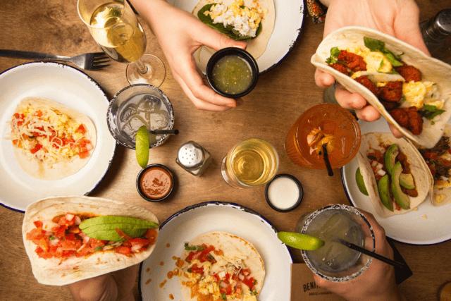 Benitos mexican brunch. Table flatlay.