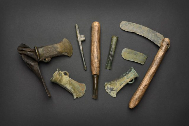Agricultural tools from the Havering Hoard and the Museum of London's permanent collection and the Layton Collectio