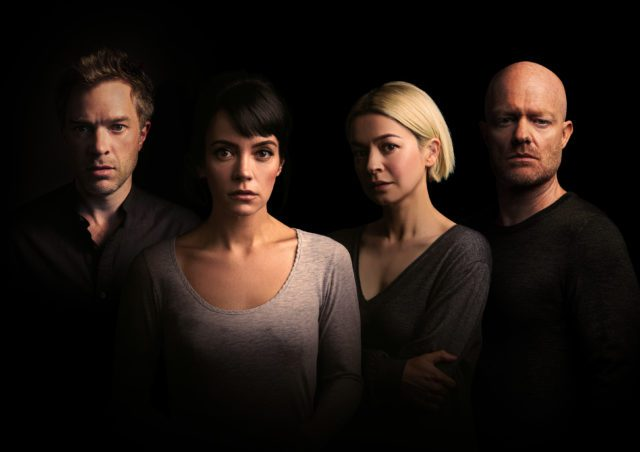 The cast of 2:22 A Ghost Story, at the Noel Coward Theatre until 16 October 2021.