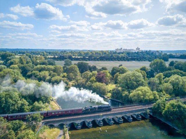 By Hari Kalay - Black Five near Windsor Castle. Steam Dreams Rail Co.