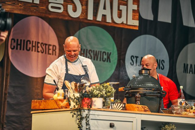 Tom Kerridge cooking demonstration opening night of Pub in the Park Festival Tour.