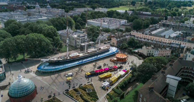 Ariel view of the Cutty Sark in Greenwich